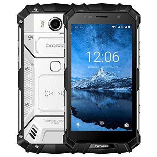 DOOGEE S60 IP68 Wasserdichte Outdoor Handy, 4G Dual SIM Smartphone Ohne Vertrag Android 7.0, 5,2 Zoll FHD Helio P25 Octa Core 6GB+64GB, 21 MP Hauptkamera, 5580mAh Akku 12V2A Fingerabdruck NFC - Silber