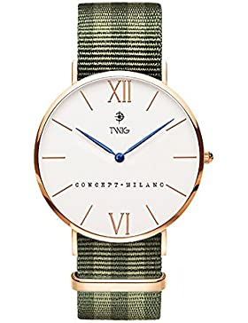 Armbanduhr TWIG Haring Military Edition Gold Rose/Weiß Army Jahrgang Klassisch