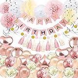 Geburtstag Dekorationen Ballon Banner - Rose Gold Happy Birthday Dekoration, Happy Birthday Banner, 16. 18. 21. 30. 50. 60. Geburtstag Ballons Geburtstag Party Dekoration für Frauen Mädchen