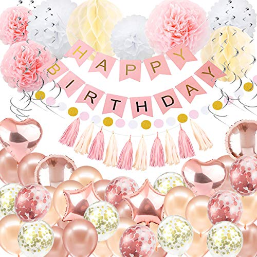 (Geburtstag Dekorationen Ballon Banner - Rose Gold Happy Birthday Dekoration, Happy Birthday Banner, 16. 18. 21. 30. 50. 60. Geburtstag Ballons Geburtstag Party Dekoration für Frauen Mädchen)