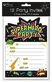 Home Collection Packung von 12 Kinder Party Einladungen & Umschläge - Schwarz Superheld Einladungen