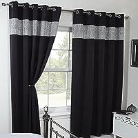 ECO - Carla - 2 cortinas térmicas y opacas- Con franja de estrás - negro - 117 cm de ancho x 137 cm de largo