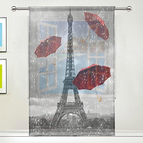 Use7 Raffinierter Vorhang mit Eiffelturm, Regenroter Regenschirm, modern, für Wohnzimmer, Schlafzimmer, Heimdekoration, Plastik, Mehrfarbig, 55