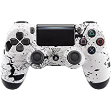 eXtremeRate® White Splashing Spray Soft Touch Grip Carcasa Frontal de Front Shell Faceplate para Playstation 4 PS4 Slim PS4 Pro Controlador JD