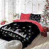 Warner Brother Parure de lit réversible avec Housse de Couette et taies d'oreiller Motif scène de Noël Manhattan 220 x 230 cm
