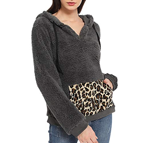 Berimaterry Damen Hoodie Pullover Kapuzenpullover Langarm Fleece Sweatshirt Warmer Pocket Leopard Fuzzy Hoodie Sweatjacke Patchwork Sweatshirt Tops Winter Mantel Outwear