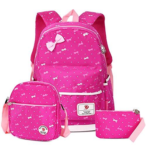 Vbiger Schulrucksack Mädchen Schulrucksack Schultasche Kinderrucksack Schulranzen Daypacks Backpack für Mädchen 3-In-1 Schulrucksack für Schule und Freizeit, Rosig