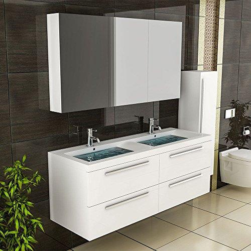 #Weiss Badmöbel / Doppelwaschbecken mit Unterschrank / Spiegelschrank inkl. Soft-Close Funktion / Badezimmer / Badset / Komplettprogramme#