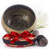 Bol chantant tibétain - Aspect antique – Coussin de l'Himalaya et maillet inclus – Cadeau parfait – Fabriqué au Népal.