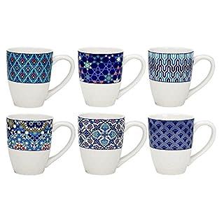 ARD 'Time ec-6azmug 6Kaffeebecher aus Porzellan Design Azulejos/Stil Ethnischen, Oriental, Blau, Méditéranée, Welt, Asiatische, Japanisch, Keramik, Blau und Weiß, 9x 8x 11cm