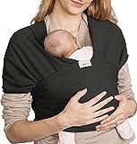 Écharpe de Portage Bébé Confort - Porte-Bébé Souple en Tissu Coton pour Nourrisson Nouveau Né de 0 à 3 ans (15Kg) - Avec Sac de Voyage - Noir