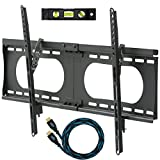 "Cheetah Mounts APTMMB Flush Tilting Thin (1,5"" in Profile) Wall Mount Bracket, for 32"" to 65"" LED, LCD, Flat Screen TV, up to VESA 684 x 400 and kg 75 (165 Pounds). Includes a Twisted Veins 10 Foot Braided HDMI Cable and 6"", 3 Axis Magnetic Bubble Level"