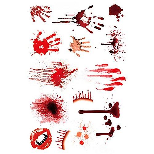 GGG Impermeable Horror Asustadizo Herida Herida De Sangre Cicatriz Tatuaje Etiqueta Decoración De Halloween