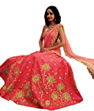 Sai creation pink silk Semi-stitched Leh...