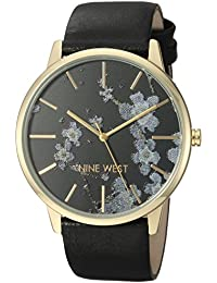 Nine West Women's NW/2074BKBK Gold-Tone and Black Strap Watch