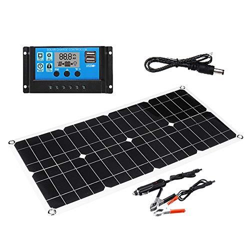 Lixada Solar Ladegerät Controller 70W Solarpanel 5V / 18V Dual USB Ausgang Monokristallines Silizium Solarpanel mit 10A Solarladeregler