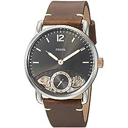 Fossil Men's The Commuter Twist ME1165 Silver Leather Japanese Quartz Fashion Watch
