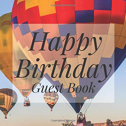 Book: Up Away Hot Air Balloon - Signing Celebration Guest Book w/ Photo Space Gift Log-Party Event Reception Visitor Advice ... Memories-Unique Accessories Idea Scrapbook ()