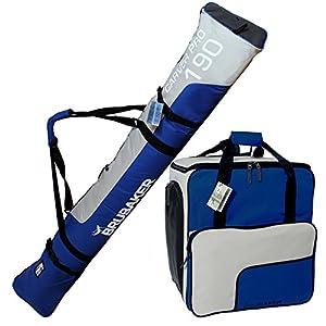 Brubaker Kombi Set Skisack und Skischuhtasche für 1 Paar Ski bis 190 cm + Stöcke + Schuhe + Helm Blau Silber