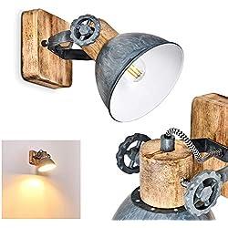 Applique Orny en bois et métal gris-bleu, spot mural orientable, luminaire rétro, style industriel, pour ampoules E27, max. 60 Watt, compatible ampoules LED