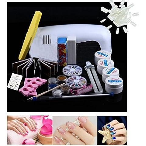 uñas kit Sannysis secador de lámpara 9W Herramientas polvo del brillo de líquidos para uñas