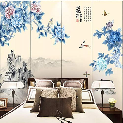 YiShuQiang Wallpaper Fototapeten Blumenlandschaft Blumen Vögel Tapetens Wandbilder Wohnzimmer Schlafzimmer Büro Flur Dekoration Fototapetens