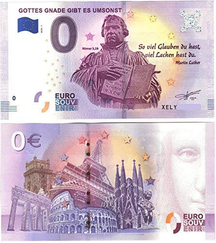 0 Euro Schein ' Gottes Gnade gibt es umsonst ' mit Martin Luther zum Kirchentag 2017 Reformationstag Null Euro Souvenier mit verschiedenen Sehenswürdigkeiten