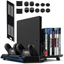 Younik Soporte Vertical para PS4 / PS4 Slim con ventiladores, estación de carga para dos controles, estante de almacenamiento para 14 juegos y un centro de conexión de 3 puestos USB. Esta base cumplirá con todas las necesidades de PS4 / PS4 Slim! No compatible con el PS4 Pro