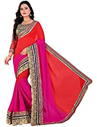 Siddeshwary Fab Women's Pink And Orange Georgette Embroidered Bridal Saree
