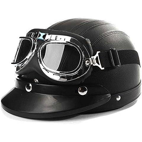 AUDEW Casco Per Motocicletta Bici Half Open Face Leather W/Sun Visiera & UV Occhiali Nero - Pelle Open Face
