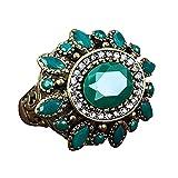 Estilo étnico de la mujer retro partido de aleación de resina joyas Big Flower anillo tamaño 7–10–19# Verde Amesii