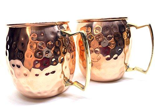 Von Hand gehämmert indischen reines Kupfer Tassen, Set von 2Ayurveda Cups 16Unzen je für Yoga und andere nutzen für die Gesundheit (2 Tassen Unzen)