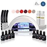 KIT MANUCURE VERNIS SEMI PERMANENT • KIT PROFESSIONNEL BEGIN SÉCHAGE 30s • Lampe UV/LED 18W Vernis Gel Polish Base Top Coat Primer Accessoires Manucure Pédicure Semipermanente Vegan Cruelty Free