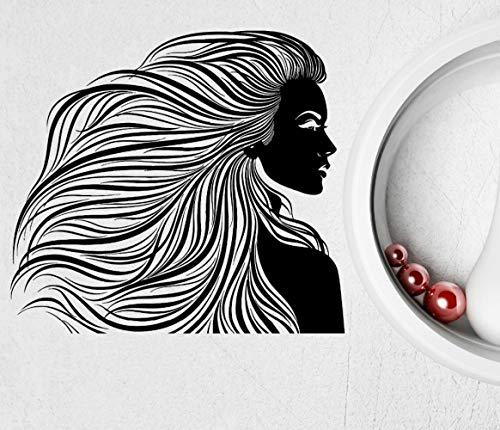 XCSJX Tallas grandes Tatuajes de pared Peluquería Salón de belleza Cabello Mujer Peinado Pegatinas de vinilo Dormitorio moderno Papel de pared calcomanías de arte 114 x 132 cm