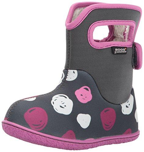 Bogs Kinder Gummistiefel Baby Bogs Sketch Dots Mädchen Warmfutter Waschbar Klettverschluss Grau Rosa -