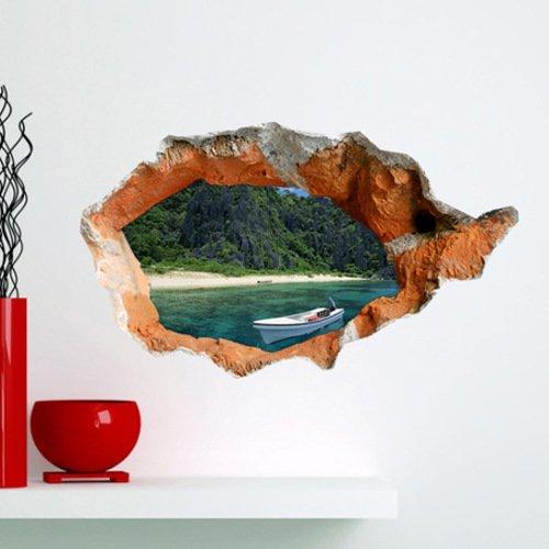 Weian 3d (foro di sabbia) adesivi murali camera soggiorno tv divano sfondo di schermo hd in tre dimensioni dei adesivi autoadesive, 58 * 98.4-58 * 98.4