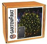 Lichternetz Batterie 1,5 x 1,5 m mit 100 LED warmweiß Timer außen von Gartenpirat®