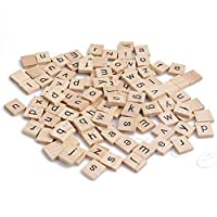 jigang 100 Pcs Wooden Alphabet Scrabble Tiles Black Letters Blocks Craft Educational Toy For Kids Children