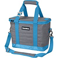 CleverMade SnapBasket 30 Can Soft-Sided Collapsible Cooler: 20 Liter Insulated Tote Bag Shoulder Strap, Grey/Blue