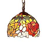 Bieye L30127 Lampada a sospensione a soffitto in vetro colorato in stile Tiffany con fiore di rosa con paralume fatto a mano largo 7 pollici, rosso verde