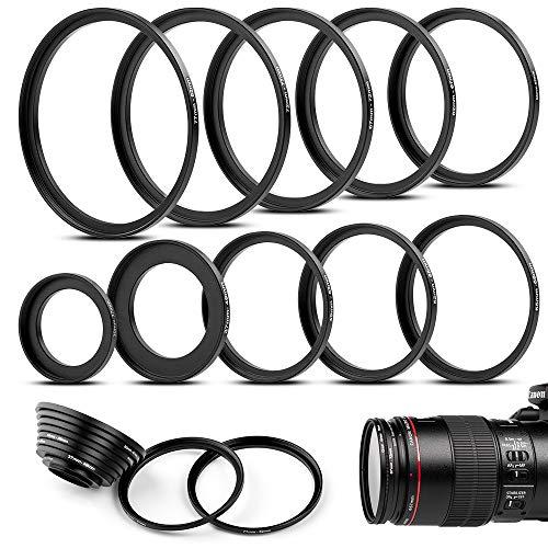 Fotover 10 teiliges Metall Step-Up Adapter Ringe Kit Objektiv Filter Schritt Adapter Ringe Set for Canon Nikon Sony Pentax Olympus Fuji DSLR Kamera -