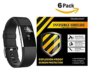 Fitbit Charge 2 Screen Protector (6-Pack) Cloudrunnerz Premium Clear Shatterproof Screen Protector for Fitbit Charge 2 Wireless Activity Wristband, HD Clarity/Anti-Scratch/Anti-bubbles Installation Film Cover - Lifetime Replacement Warranty