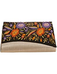 Soulful Threads Cotton Silk fabric elegant Floral Embroidery Beige Hand Clutch
