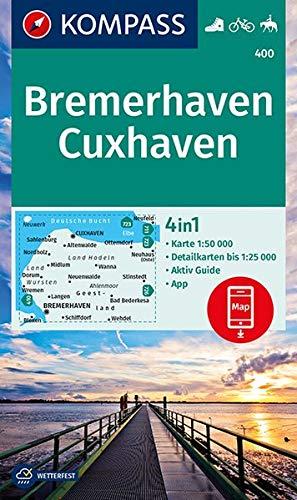 Bremerhaven, Cuxhaven: 4in1 Wanderkarte 1:50000 mit Aktiv Guide und Detailkarten inklusive Karte zur offline Verwendung in der KOMPASS-App. Fahrradfahren. Reiten. (KOMPASS-Wanderkarten, Band 400)
