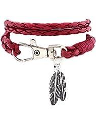 Hosaire Bracelet Femmes rétro cordon cuir tressé de plumes en forme multi-chaîne chaîne Réglable Bijoux romantique Bracelet Cadeau de l'amour-Rouge