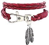 Hosaire Armband Mode Mehrschichtiges Leder Weben Bracelet Hängenden Bangle Schmuck für Freunde,Liebhaber Geburtstag Geschenk,Rote