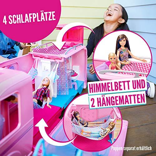 Barbie FBR34 - Super Abenteuer Camper, Puppen Camping Wohnwagen mit Zubehör, Mädchen Spielzeug ab 3 Jahren - 4