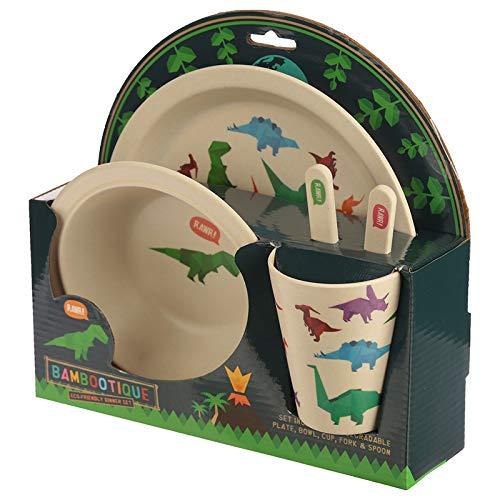 Cadeau suprême. Un ensemble idéal pour les enfants. Ensemble de table en bambou biodégradable pour enfant Motif dinosaures