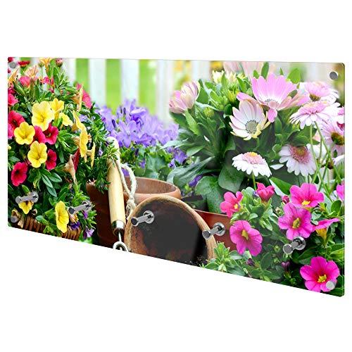 banjado Wandgarderobe aus Echtglas | Design Garderobe 80x40x6cm groß | Paneel mit 5 Haken | Flurgarderobe für Jacken und Mäntel | Garderobenleiste mit Motiv Gartenfreude
