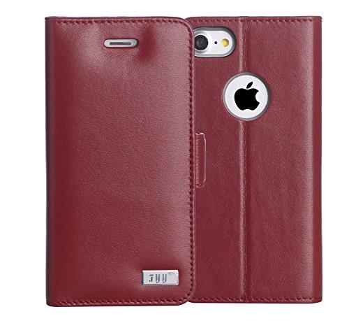 iPhone 8 Hülle , iPhone 7 Hülle, Fyy® [RFID Blockierender Geldbeutel] [Echtes Leder] 100% handgenähter Geldbeutel mit Kartenhaltern für iPhone 8/7 ,Schwarz 1AA-Winerot